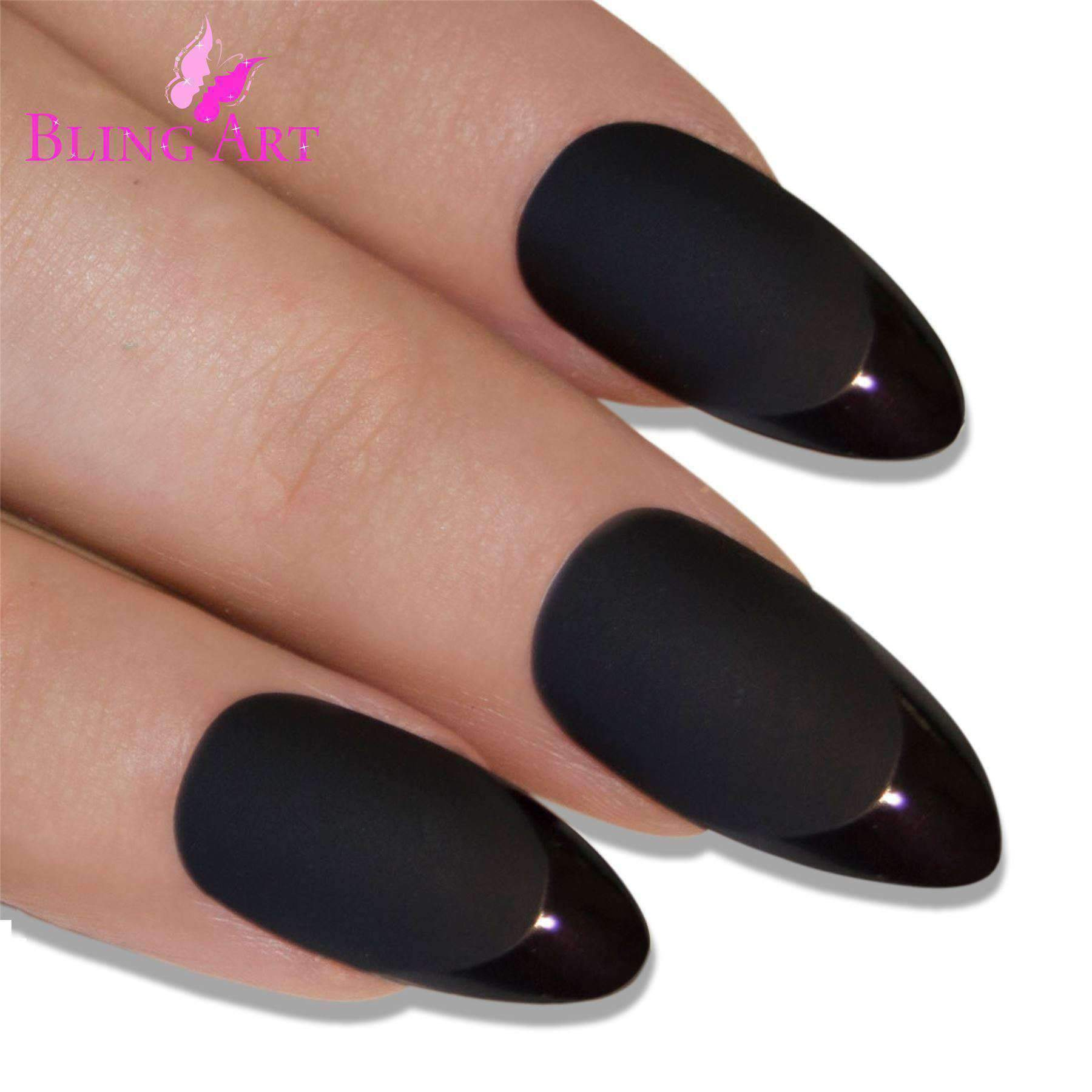 Black Matte Almond Stiletto Acrylic Nails | I'm Spoiled - Sp-oiled!