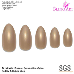 False Nails by Bling Art Gold Glitter Almond - Sp-oiled!