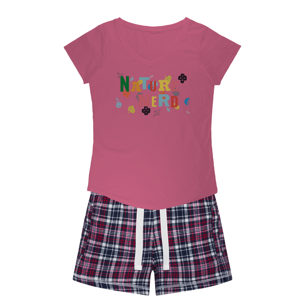 Nature Nerd Collection Girls Sleepy Tee and Flannel Short - Sp-oiled!