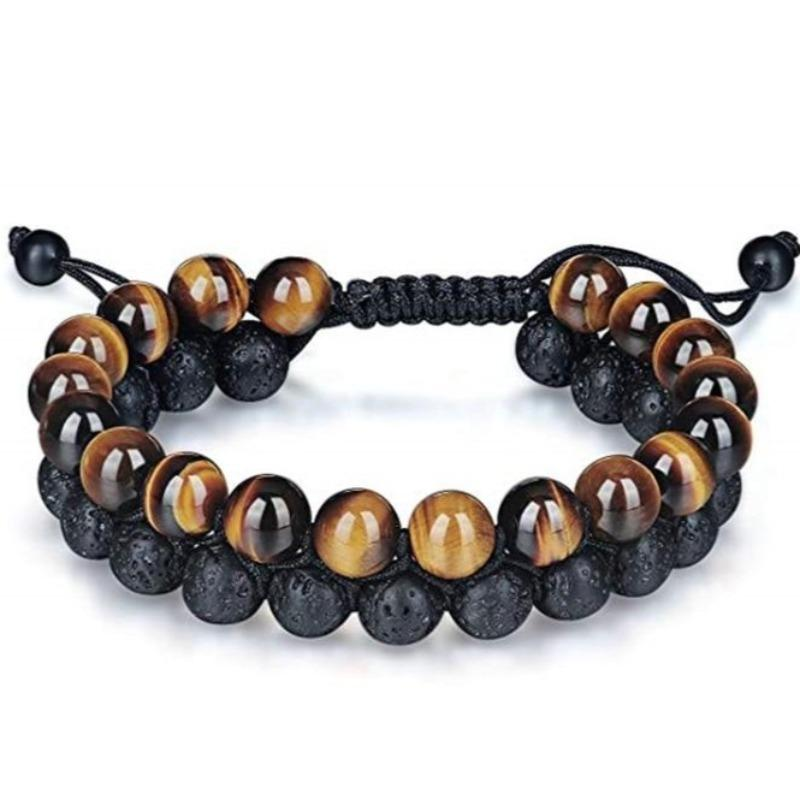 Tiger's Eye & Lava Stone Diffuser Braided Rope Bracelet - Sp-oiled!