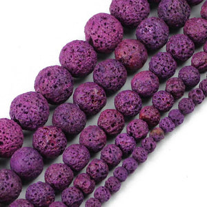 Loose Lava Beads for Jewelry Making | 4/6/8/10/12 MM Round - Sp-oiled!