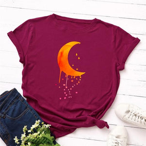 Exquisite Fall Dripping Crescent Moon T-Shirt | Choose Your Favorite Color | I'm Spoiled - Sp-oiled!