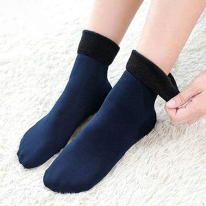 Solid Color Thick Cotton Blend Socks