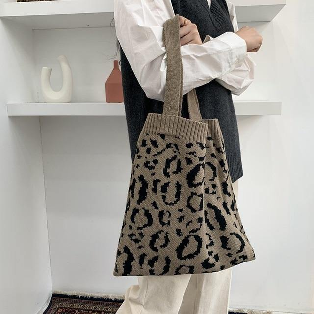 Leopard Print Knit Tote Bag - Sp-oiled!