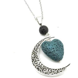 Crescent Moon w/ Heart Lava Stone Essential Oil Diffuser Necklace, 12 Colors Available - Sp-oiled!