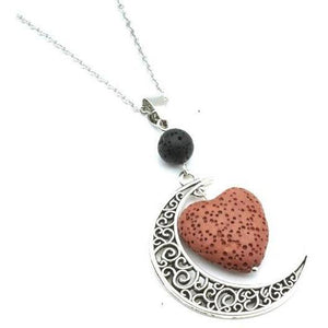 Crescent Moon w/ Heart Lava Stone Diffuser Necklace, 12 Colors - Sp-oiled!