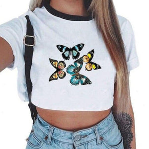 Shiny Happy People Cropped Top T-shirts; 7 Designs to Choose From - Sp-oiled!