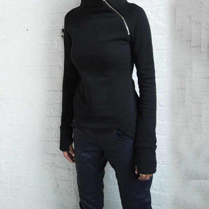 Slim Fit, Zippered, Turtleneck Sweatshirt - Sp-oiled!