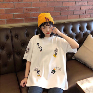 Oversize Looney Tunes Character Embroidered T-Shirt - Sp-oiled!