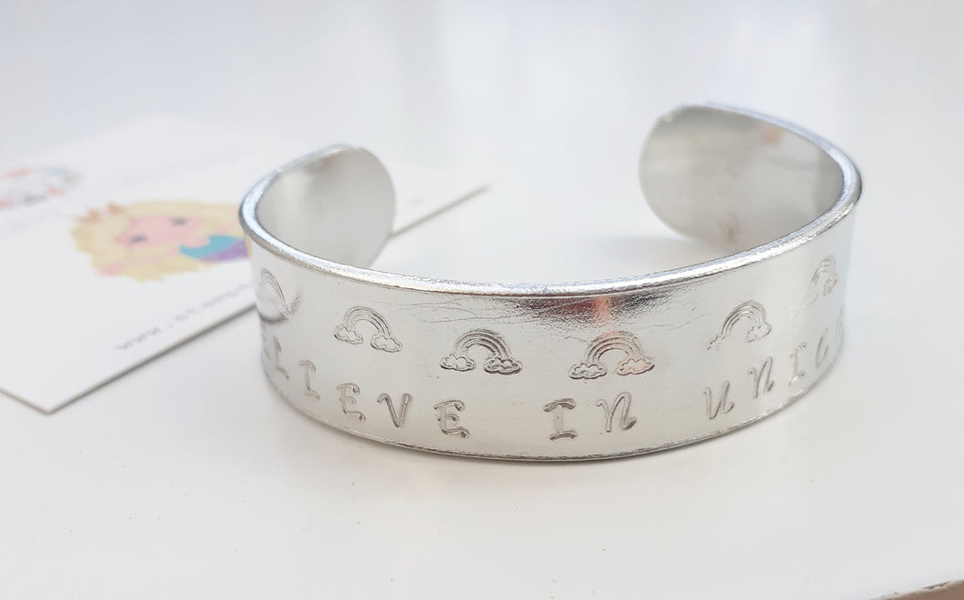 'I Believe In Unicorns' Childrens Cuff Bracelet