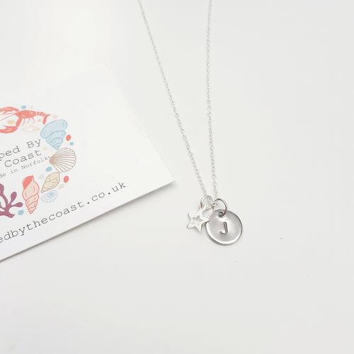 Personalised Silver Single Disc With Star Necklace