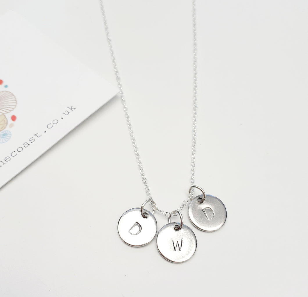 Personalised Silver Triplet Disc Necklace