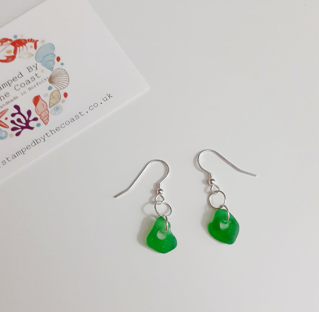 Silver Norfolk Sea Glass Hook Earrings
