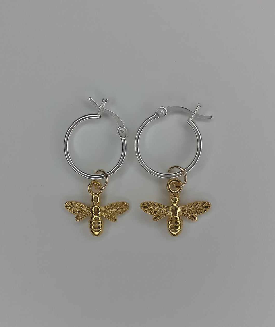 Sterling Silver Hoops & Gold Vermeil Bee Earrings