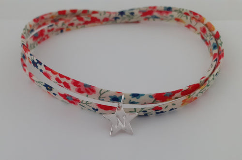 Liberty Of London Fabric With Sterling Silver Star Wrap Bracelet