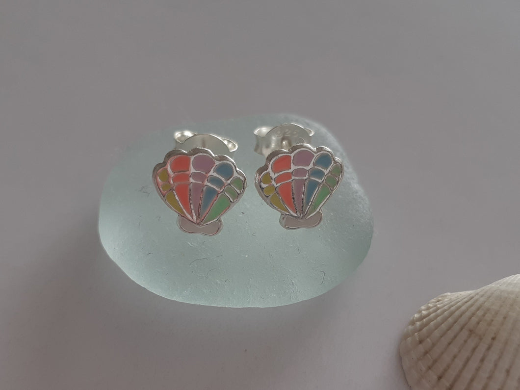 Rainbow shell earrings