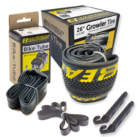 eastern bikes growler 26 inch tire and tube repair kit 1-pack black and yellow