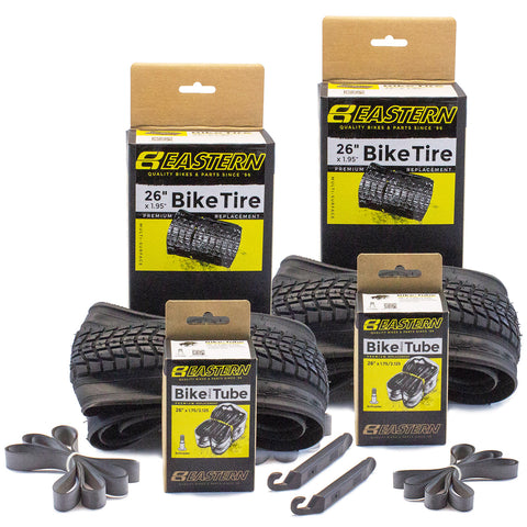 eastern bikes 26 inch premium bike tires and tubes 2-pack kit
