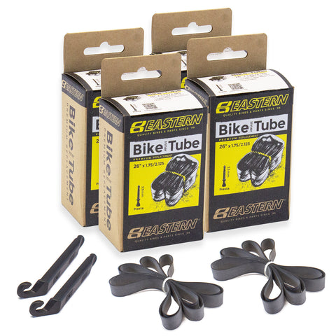 eastern bikes 26 inch 33mm presta valve bike tubes 4-pack