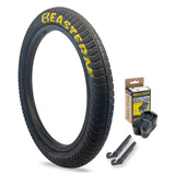 eastern bikes curb monkey tire kit 1 pack with tubes and levers black and yellow