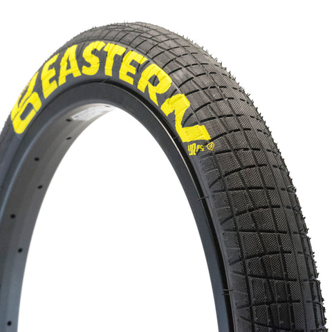 eastern bikes 20 inch x 2.2 throttle tires 100psi black yellow 1