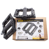 ezra bmx flats plus pedals with metal pins and sealed axle black