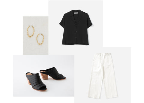 tuesday shoesday - gaby in black, black blouse, gold hoop earrings, white pants.