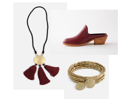 """fortress faves noonday collection - ambrosia necklace, burgundy michelle shoe, golden coil bracelet  """