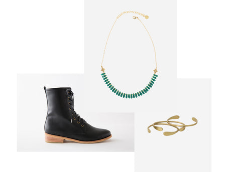 the constant cuffs, calliope necklace and fortress fortress of inca lily paige boot  are a match made in heaven