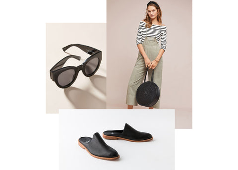 what to wear wednesday summer styles - adra slip-on mule in black, sunglasses, woman wearing purse.