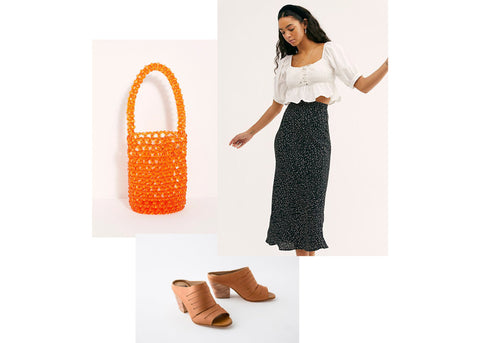 what to wear wednesday summer styles - woman wearing midi skirt and gaby heel in caramel