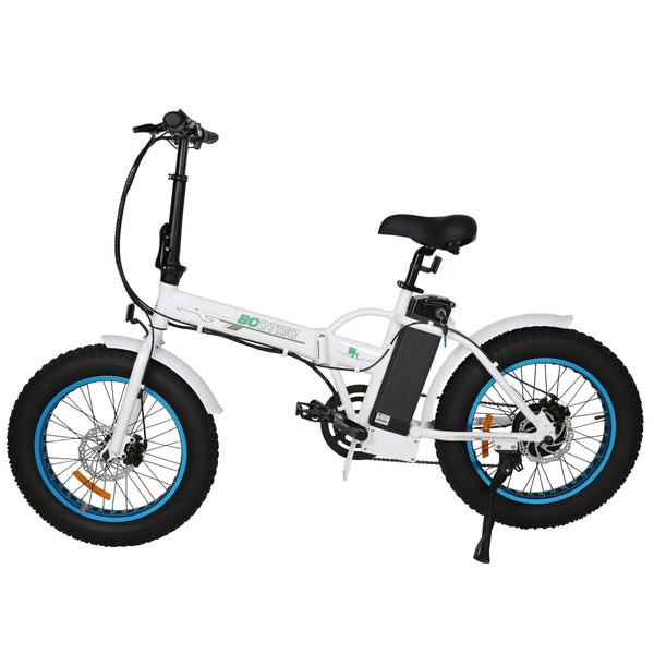 Ecotric Fat Tire Portable and Folding Electric Bike-White and Blue