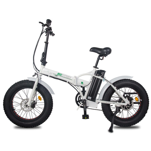 Ecotric White Fat Tire Portable and Folding Electric Bike