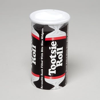 Tootsie Roll Bank, 4oz Re-usable Bank Filled with Midgees