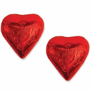 Red Foiled Gourmet Creamy Milk Chocolate Hearts 1 Pound Box - Oh! Nuts