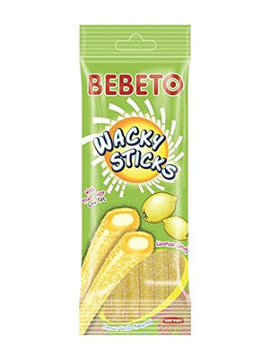 BEBETO Wacky Sticks - Lemon Vanilla Flavored Licorice Candy Sticks with Fruit Juice and Cream Filling - 4 oz (Pack of 6)
