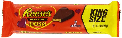 Reese's Valentine's Peanut Butter Hearts, King Size, 2.4-Ounce Packages (Pack of 12)