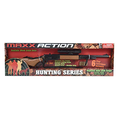 Maxx Action Hunting Series Toy Repeater Rifle with Scope, Realistic Reload Sounds and Ejecting Toy Shells for Kids Meets all US Toy Safety Standards for the Toy Gun Category plus Orange Safety Tip