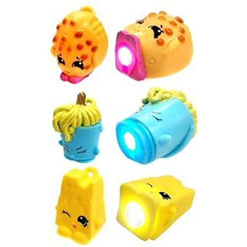 Shopkins Micro Lite Series 1 LED Light Up Toy Mini Figure Mystery Pack - 1 Package (Includes 1 Random Figure Total. May Be: Chee Zee, Molly Mops, Dum Mee Mee, Juicy Orange, Poppy Corn, Kookie Cookie.)