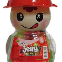 Uno Fruit Jelly Mixed Natural Fruit with Coconut Fruit Chunk in Coin Bank Red