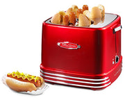 Nostalgia RHDT800RETRORED Four Dogs & Buns Pop-Up Toaster, 4-Hot Dogs, Retro Red