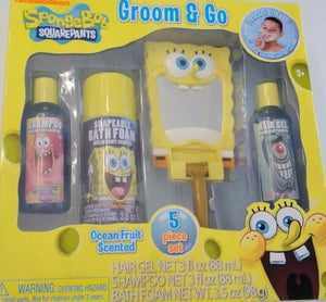 Spongebob Squarepants Groom & Go 5 Piece Bath Set - Shampoo, Bath Foam, Hair Gel, Mirror, Play Razor