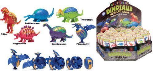 Dinosaur Puzzled Eggs - 6 Dinosaur Egg Included (Transforms from egg to Dino!)