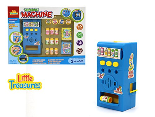Little Treasures My own Vending Machine Toy 16pcs Set Including Machine, juices, and Coins to Put in. Also has Lighting and Sound Effects, Battery Operated, for Kids Ages 3+