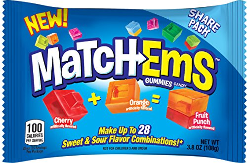 Match-Ems Gummies Candy From Bazooka, Mix, Halloween Share Pack Assorted Sour & Fruit Flavors, 3.8 Oz, 16Count