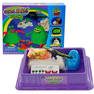 Sands Alive Play Sand Deluxe Monster Set Glow in The Dark Sand with UV Light Pen, Glasses, Molds and Playmat, 1 lb.