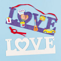 Baker Ross Love Wooden Hanging Photo Frame with Ribbon | 9.8 x 3.1 inches (25cm x 8cm) | for Kids to Personalise & Decorate (Pack of 3)