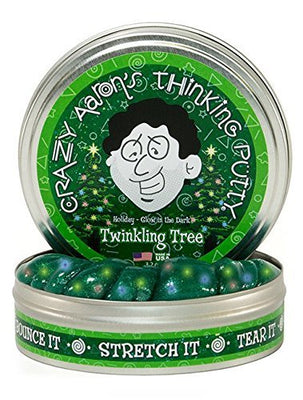 Crazy Aaron's Thinking Putty, 3.2 Ounce, Holiday - Glow in the Dark Twinkling Tree