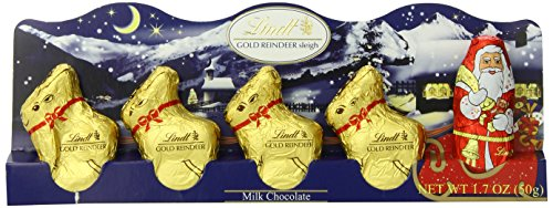 Lindt Holiday Milk Chocolate Santa and Reindeer Figure, Hollow, 1.7 oz, (Pack of 14)