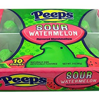 Pack of 4 Peeps Sour Watermelon Easter Sugar and Marshmallow Candy Treats 10 Peeps Per Pack
